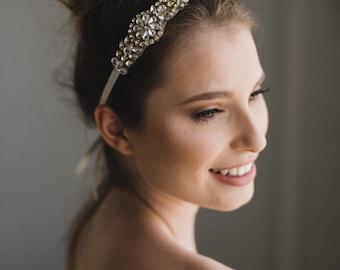 Rose Gold Bridal Headband | Rose Gold Rhinestone Crystal Headband | Rose Gold Bridesmaid Headband | Rose Gold Petite Gemma Headband