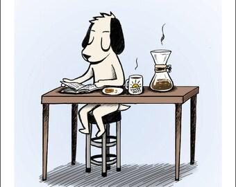 "Morning Ritual - Dog at Breakfast - fine art print 5""x5"""