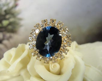 Vintage Ring, 10K London Blue Topaz Ring, Blue and White Topaz Ring, Princess Di, Kate Middleton, Blue Topaz Ring, 6.8 Carat Ring, Size 7
