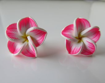 """Iva"", polymer clay rose flower studs earrings"