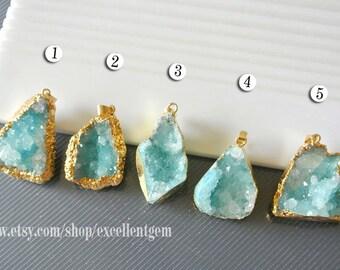 Druzy Druzy pendant Geode pendant druzes stone pendant 24k Gold plated Edge Druzy in Aquamarine blue color Jewelry making JSP-5529
