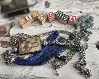 Gramophone Needles, Italian Necklace, Necklace Vintage, Locket Necklace, Vintage box, Altered Metal Jewelry, Metal box Jewelry, Gioconda