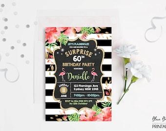 FLAMINGO Surprise Birthday Invitation. 30th 40th 50th 60th Woman Birthday Invite. Tropical Pool Party Invite Black Gold Glitter SummerFLA2