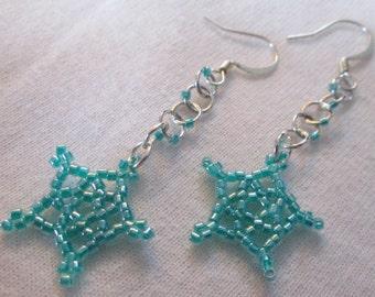 Aqua Green Lucky Stars Earrings