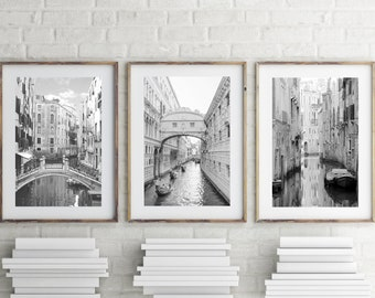 Venice Print, Set of 3 Prints, Black and White Photography Prints Downloadable Prints Printable Wall Art Prints Architecture Poster Download