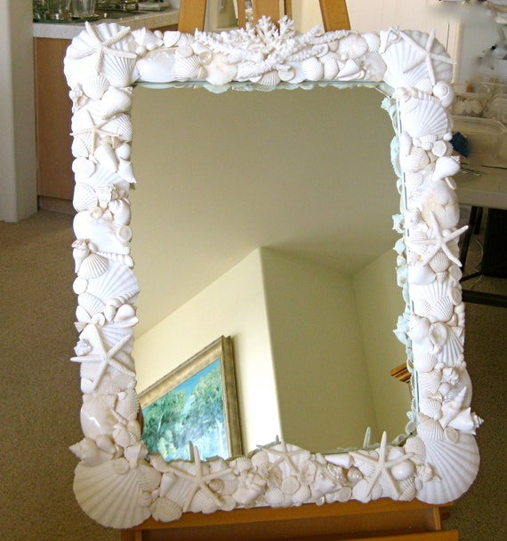 Beach decor large seashell mirror with coral and starfish for Anchor decoration runescape