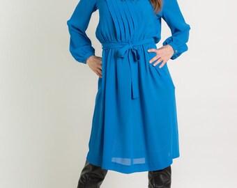 Vintage Sheer Blue Belted Dress (Size Large)