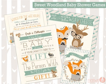 Sweet Woodland Baby Shower Games | Forest Friends Baby Shower | Woodland Animals Don't Say Baby, Diaper, Sign, Photo