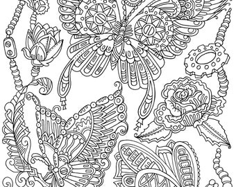 Steampunk Butterflies - Printable Adult Coloring Page from Favoreads (Coloring book pages for adults, Coloring sheets, Coloring designs)