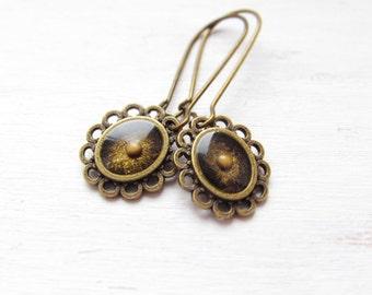 Flower dangle earrings, Mustard Seed jewelry, Faith jewelry - Mustard Seed earrings, flower earrings. Unique gift for her – minimal earrings