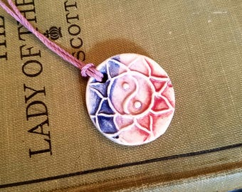 Ceramic Essential Oil Diffuser Mandala Yin and Yang Necklace, Handmade Porcelain Aromatherapy Jewelry, Adjustable