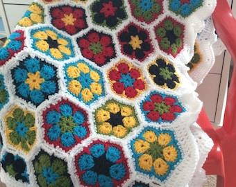 floral baby blanket, crochet hexagon blanket, baby shower gift, luxury baby gift