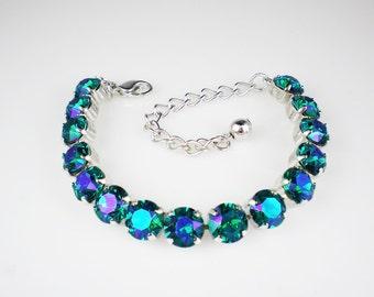 Teal Blue Green Rhinestone Bracelet Swarovski Blue Zircon Glacier Blue Wedding Jewelry Bridesmaid Jewelry MADE TO ORDER