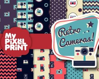 Photo Cameras - Retro Camera  Old Camera Memories Vintage Photo Pattern Digital Scrapbooking Paper Pack Instax Polaroid - My Pixel Print