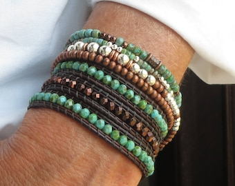 Stackable Bracelets Leather Wrap for Women Bracelet Stack Beaded Bracelet Wrap Around Brown Leather Bracelet Boho Festival Turquoise Jewelry