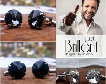 """Cufflinks """"Just brilliant"""" unisex, made with Swarovski © Crystal 14 mm/for stylish outfits of men & women, Weddings"""