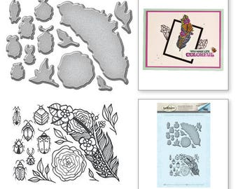 Spellbinders Feather and Beetles Stamp and Die Set from the Spring Love Collection by Stephanie Low SDS-061