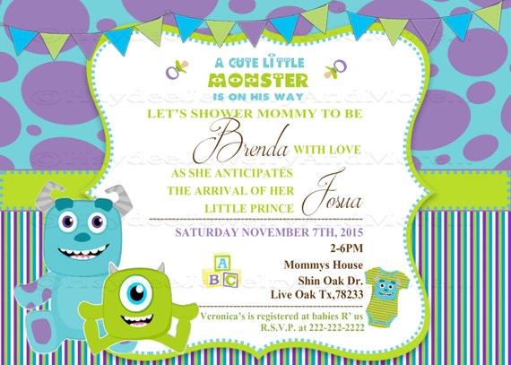 Monster inc Baby shower invitation