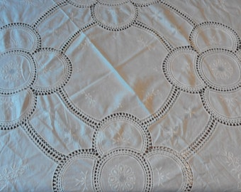 vintage hand embroidery linen round tablecloth