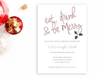 Christmas Party Invitation, Printable Christmas Invitation, Christmas Tree, Eat Drink and Be Merry Invitation, Christmas Party Invitation
