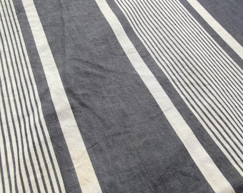 Panel of Vintage French 1930s Striped Ticking Fabric Herringbone Indigo Blues toile matelas