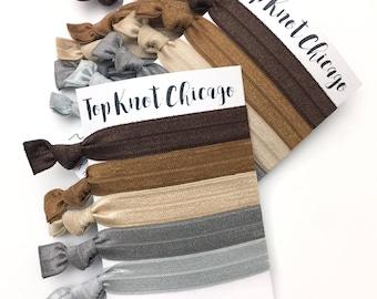 Neutral Hair Ties - Hair Elastics - Elastic Hair Ties - Hair Bands for Women - Yoga Hair Ties - Brown Hair Ties - Ribbon Hair Ties