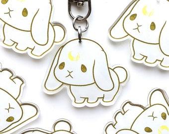 """Cute Magical Bunny Sailor Moon Inspired Usagi Kawaii Chubby Rabbit 1.5"""" Clear Acrylic Charm Keychain"""