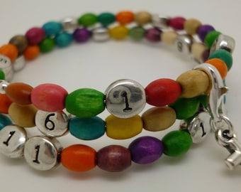 Nursing treasure bracelet multicolor wood