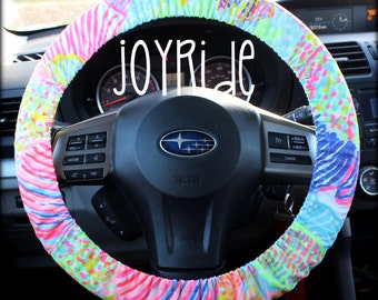 Lilly Pulitzer Fabric Steering Wheel Cover Roar Of The Seas Fully Lined With Grip Tight Designer