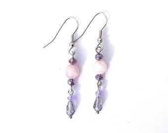 Kunzite Crystal and stainless steel earrings