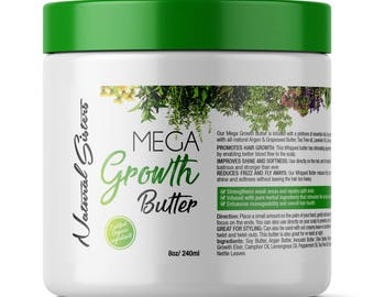 Mega Growth Hair Treatment Butter 8 oz  Jar -Hair Growth Formula - Scalp Treatment - With Horsetail, Nettle, Tea Tree, Rosemary & much more