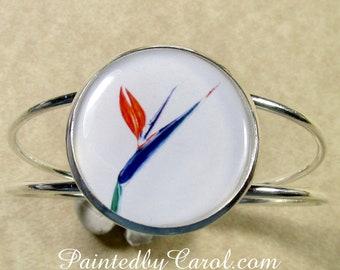 Bird of Paradise Cuff, Bird of Paradise Bracelet, Bird of Paradise Jewelry, Tropical Cuff, Tropical Bracelet, Tropical Jewelry