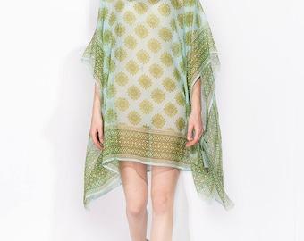 100% silk Boat-necked Short Silk Kaftan 109x86/ No (1) mandala TREE transparent silk georgette