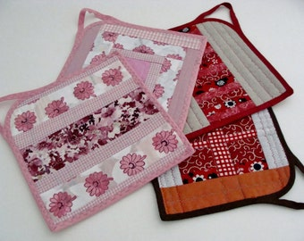 Mittens, large kitchen grabs, handmade, patchwork, 2 units.