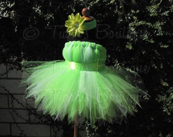 """Custom Sewn Tutu - Tinkerbell - Belted Pixie Dress - up to size 5T and 30"""" long - Perfect for Birthdays, Halloween - Dress Only"""