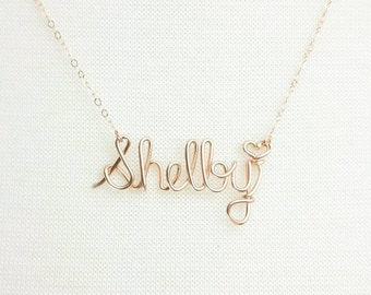 Rose Gold Necklace, Wire Name Necklace, Personalized Jewelry, Name Necklace, Bridesmaid Necklace, Personalized Name Jewelry Gifts