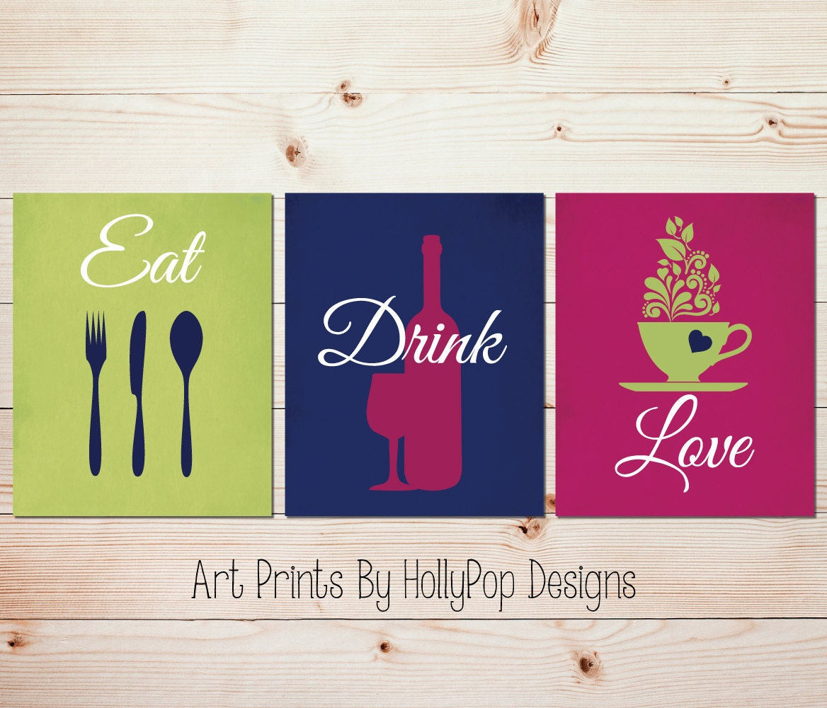 Love Art Quotes Kitchen Quotes Wall Art Modern Kitchen Decor Eat Drink Love