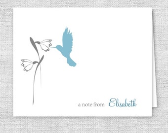Hummingbird and Flower Printed Note Cards - Set of 10 - Personalized Stationery, Your Font & Color Choice