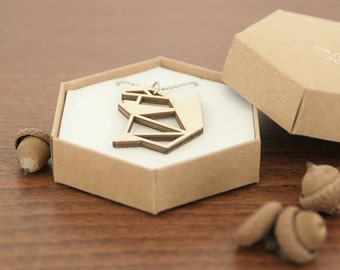 Origami squirrel necklace ~ Laser cut from birch wood ~ Geometric pendant ~ Gift boxed