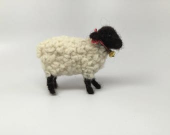 Black and white sheep needle felted sheep