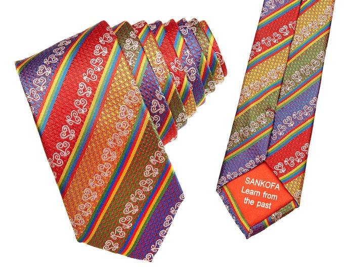 Red Adinkra Gye Nyame Silk Tie, Hand Woven Kente Tie, African Wedding Dress Tie, Mens African Clothing , Adinkra African Style Necktie