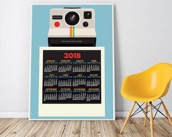 Wall Calendar Large 2018 Calendar Photographers Gifts Camera Art Poster Camera Print Gifts For Cameraman Photography Gifts Framed Art