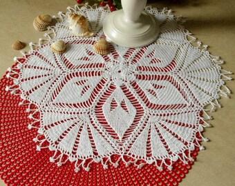 Large crochet doily 18 1/2 inches Elegant lace doilies Table decor Large lace doily Crochet decoration Vintage decor 421