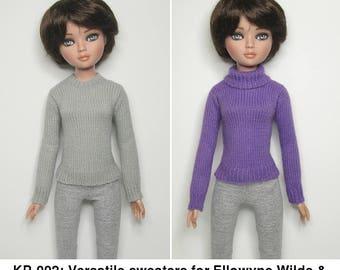 """KNITTING Pattern KP-002: Two versatile sweaters for Ellowyne Wilde & friends. 16"""" fashion dolls."""