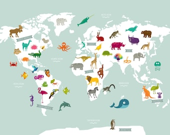 World map art illustration print animal world map poster print gumiabroncs Image collections