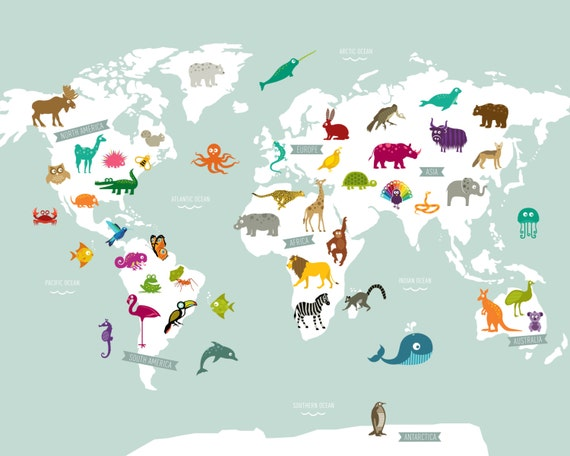 Animal world map poster print gumiabroncs Image collections