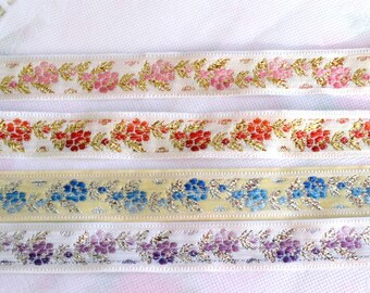 Flower Jacquard Ribbon, Flower Ribbon, Embroidered Ribbon, Jacquard Trim, Decorative Ribbon, Flower Trim, Sewing Trim, Embroidered Trim 15mm