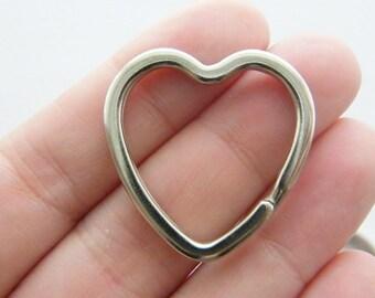 BULK 10 Heart key rings 31 x 31mm silver tone