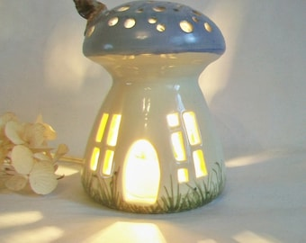 Night Light/ Fairy House - Blue Roof, Mushroom with Starry Sky - Hand Painted - Wheel -thrown - True One of a Kind