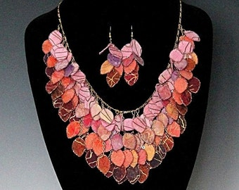 Sunset Fabric Statement Hand Painted Batik Fabric Necklace